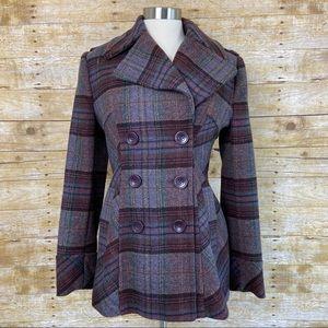 Moda International Purple Plaid Wool Pea Coat